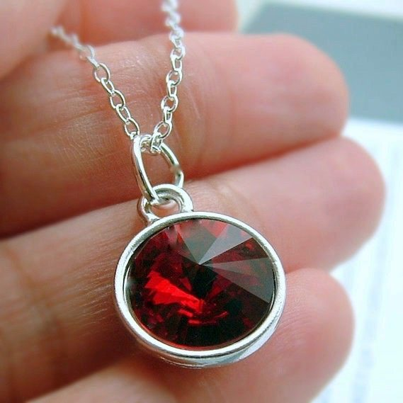 Red Swarovski Crystal Necklace, Red Crystal Jewelry, Gift ...