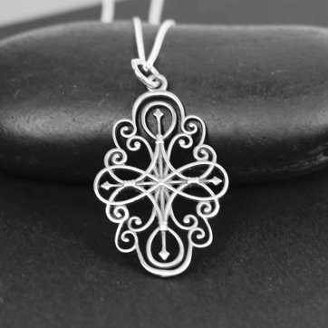 Sterling silver filigree compass rose charm necklace sterling previous aloadofball Image collections