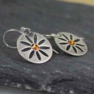 Flower Earrings With Choice Of Swarovski Crystal Birthstone Color