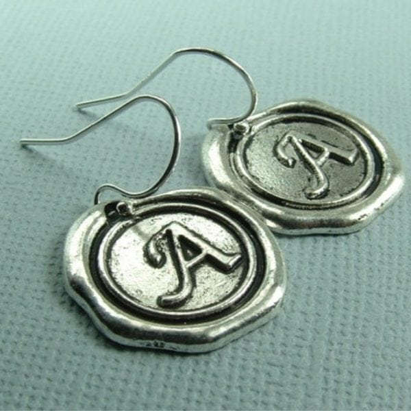 monogram letter earrings