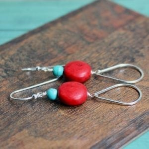 red turquoise earrings