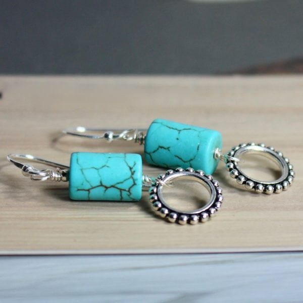 turquoise circle link earrings