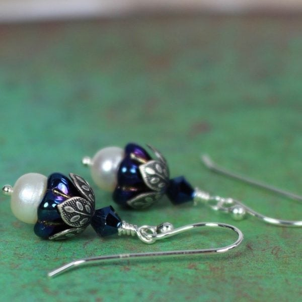 iris blue pearl earrings