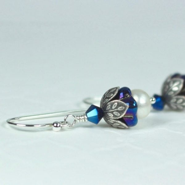 iris blue pearl earrings
