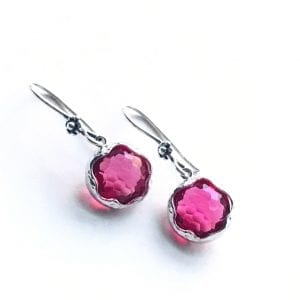 red faceted crystal earrings 1