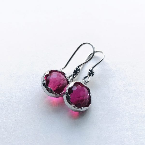 red faceted crystal earrings