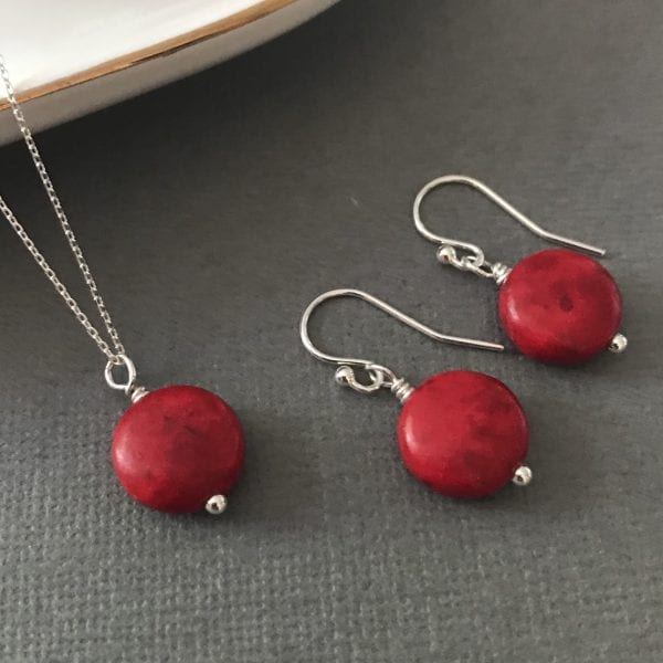 red stone earrings and necklace set